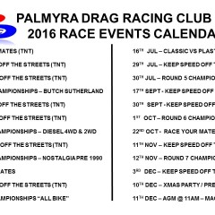 2016 Current Race Calendar